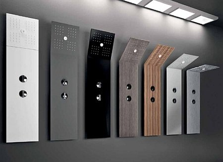 toutes les mati res de colonne de douche alu inox r sine bois verre. Black Bedroom Furniture Sets. Home Design Ideas
