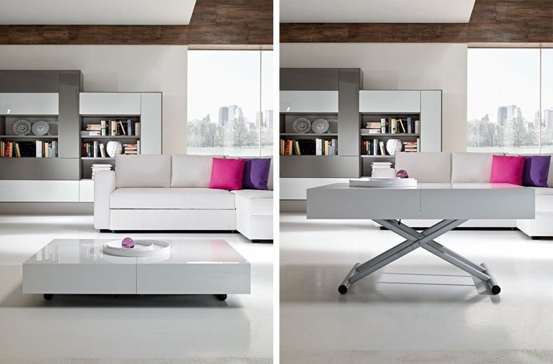 Le guide de la table relevable et transformable - Table basse blanche relevable ...