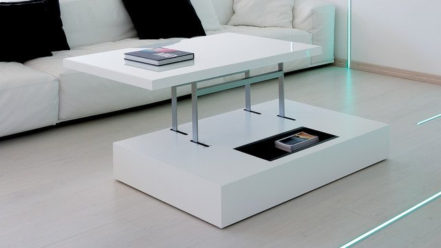 Table basse transformable et relevable - Table de salon convertible ...