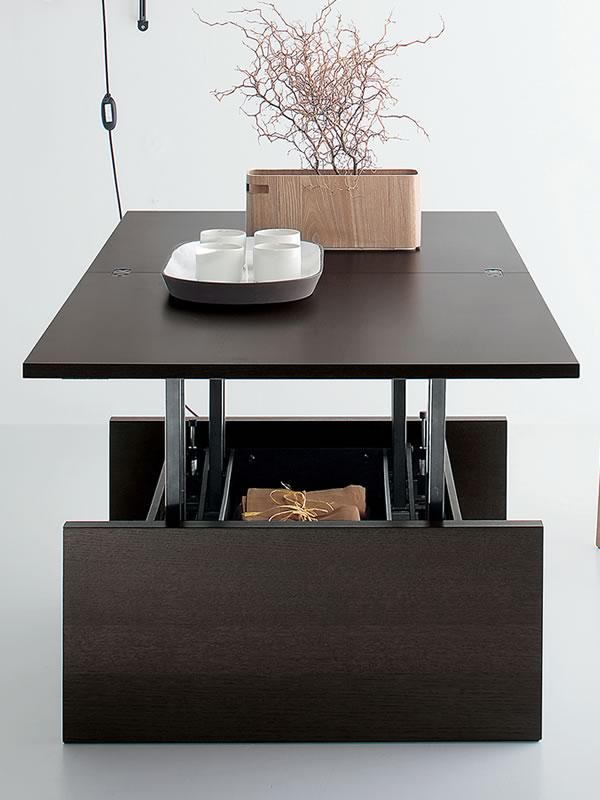 table basse relevable et transformable en bois
