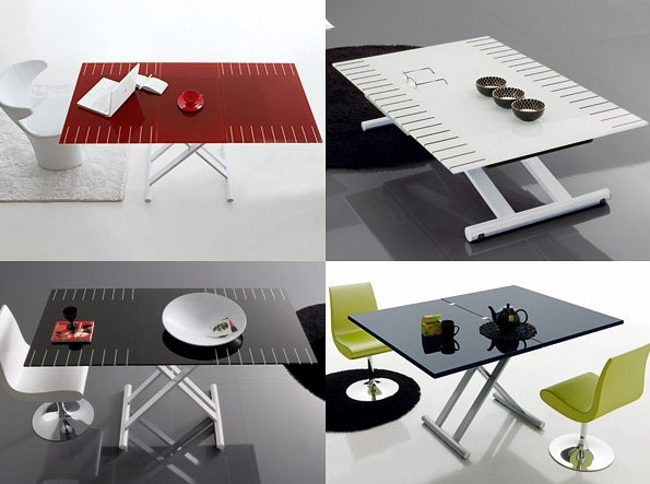 table basse relevable extensible en acier