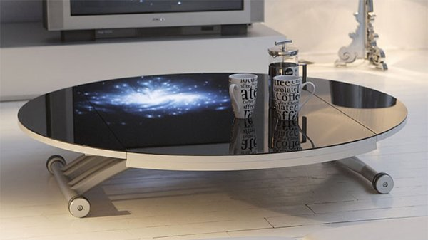 table basse relevable en verre trempé