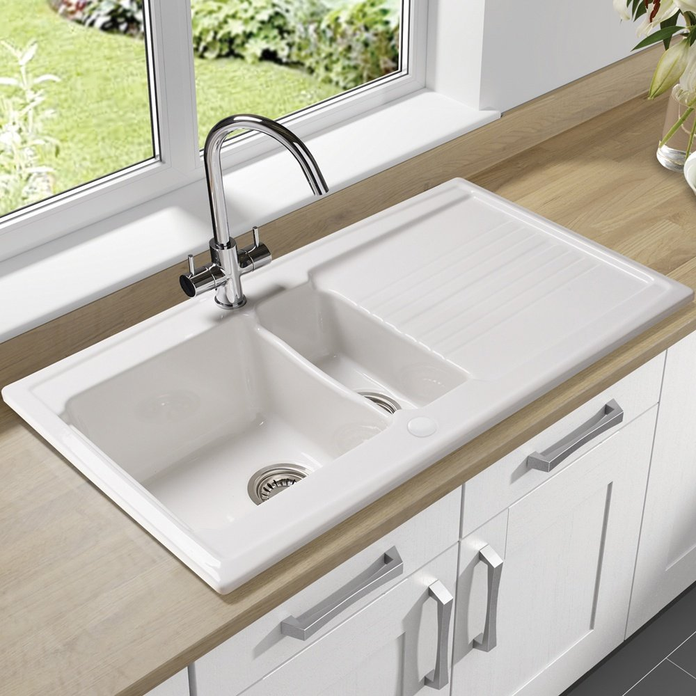 White Kitchen Sink Ceramic