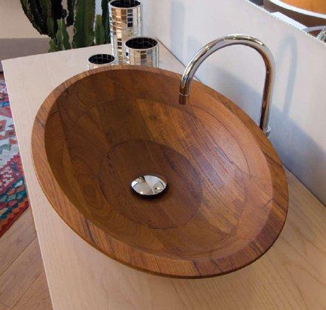 vasque ovale en bois