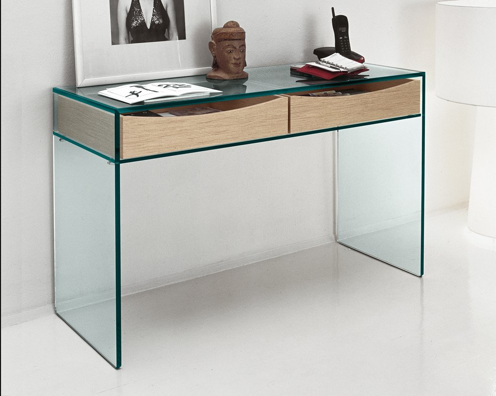 Table console verre trempe for Table console pour cuisine