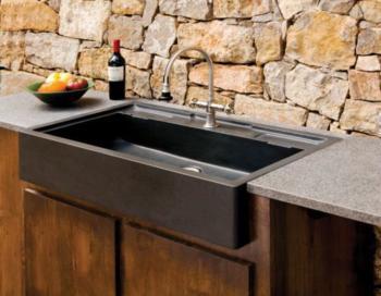 intgération d'un évier en granit noir