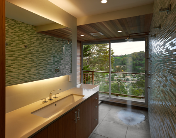 exemple d'intégration d'une douche dans une salle d'eau