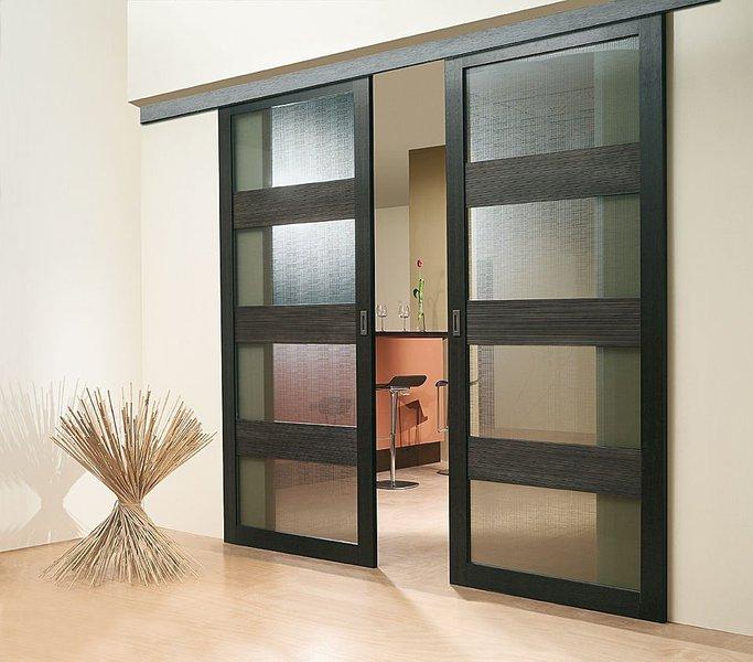 porte coulissante en bois 2 portes noire