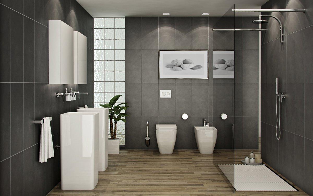 rénovation salle de bain grise