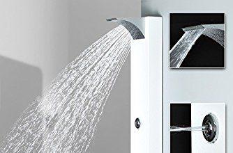 Notre avis sur la colonne de douche Sanlingo blanche avec jets de massage