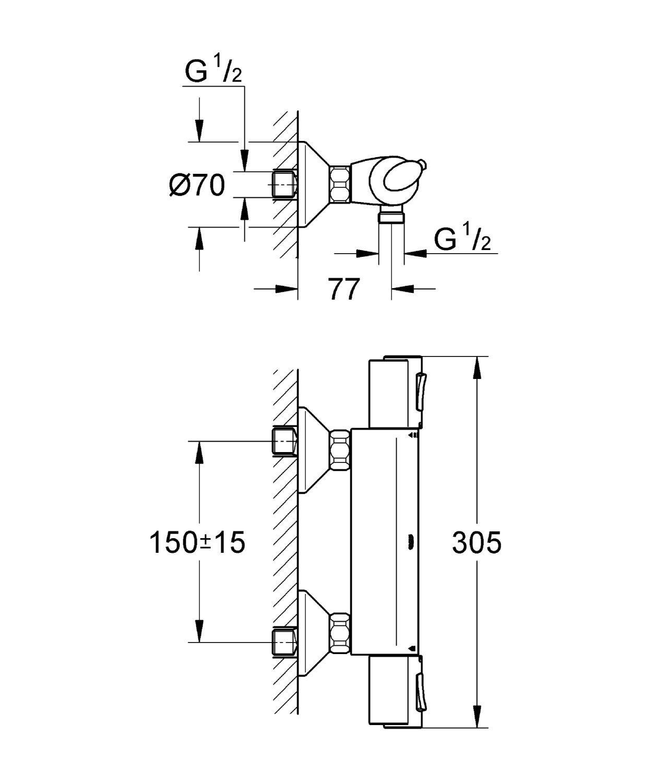 notre avis sur le mitigeur de douche thermostatique grohe grohtherm 1000. Black Bedroom Furniture Sets. Home Design Ideas