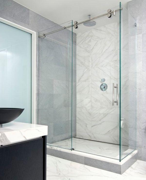 parois et portes de douche coulissantes sdb marbre