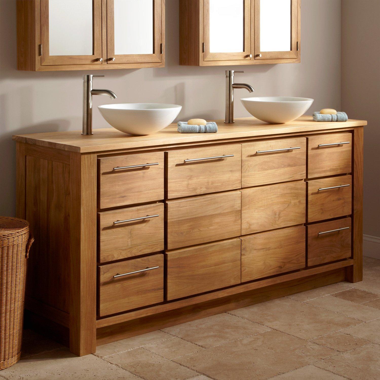 Meuble salle de bain bois pas cher for Salle de bain en bois
