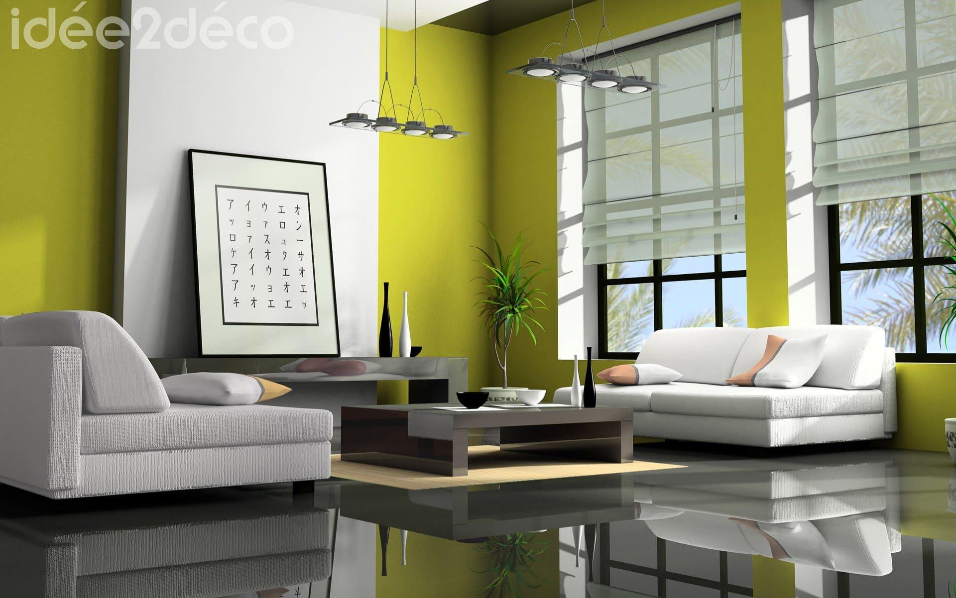 Design salon moderne jaune moutarde