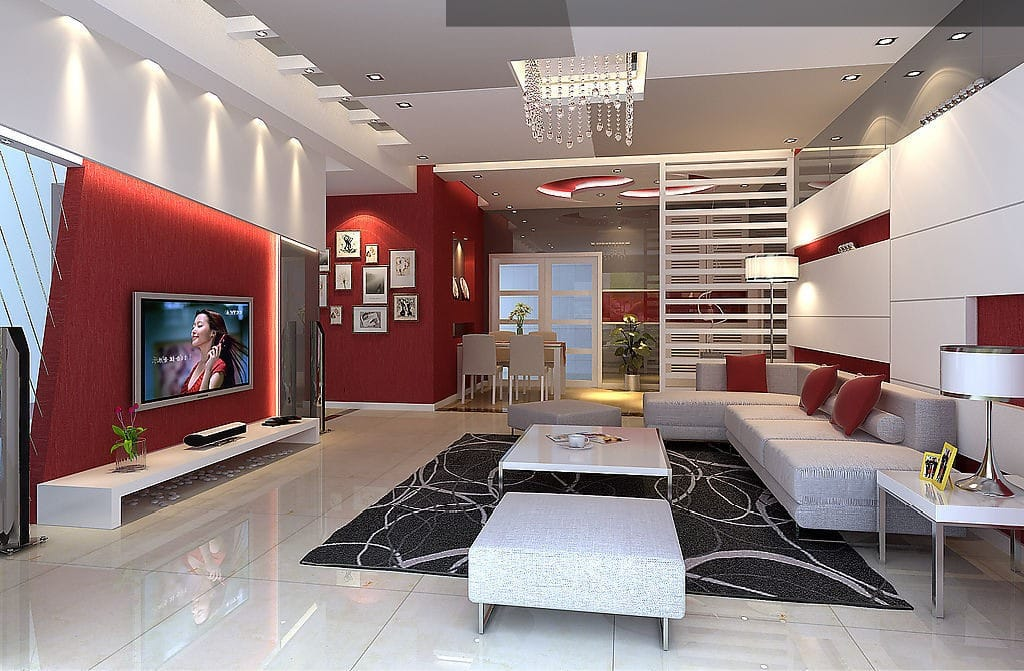 Salon rouge et blanc, design et moderne