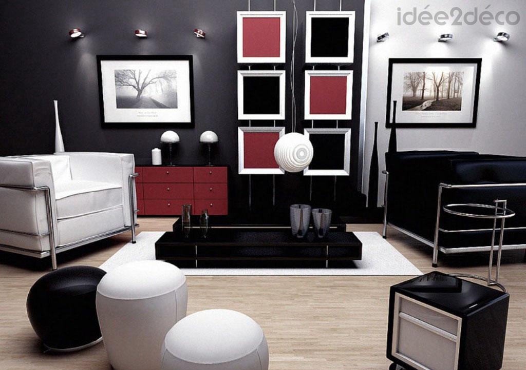 Une déco de salon en rouge, noir et blanc
