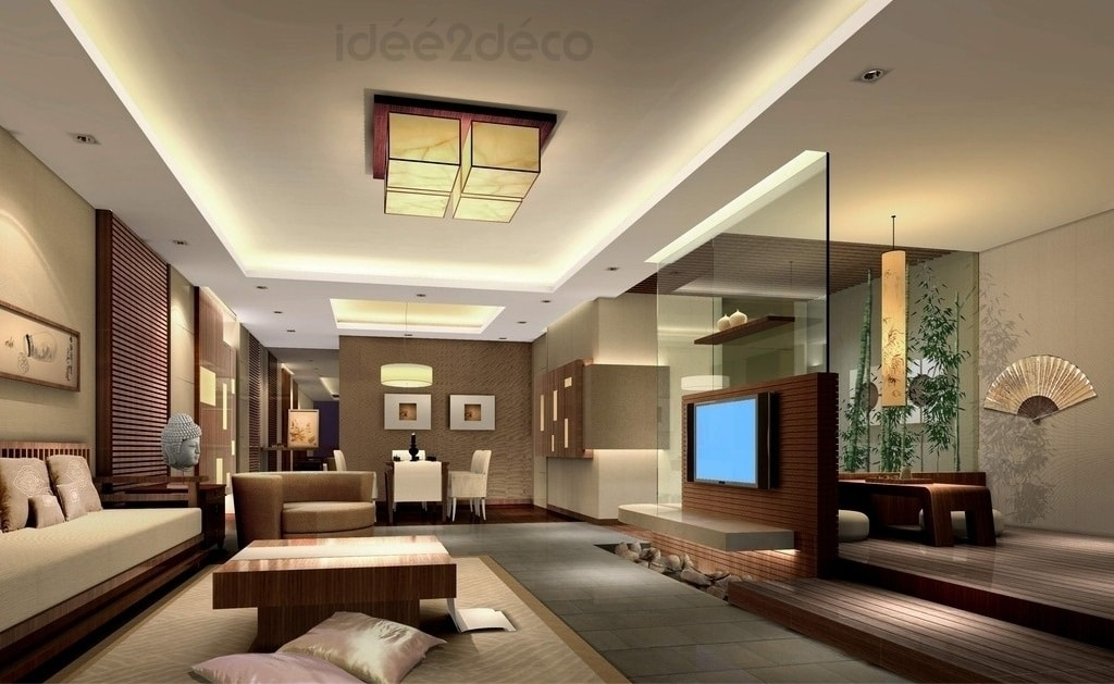 Une d co de salon moderne ambiance zen asiatique for Idee deco salon bois