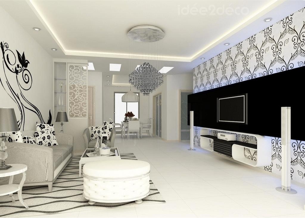Une déco de salon néo-baroque en noir & blanc