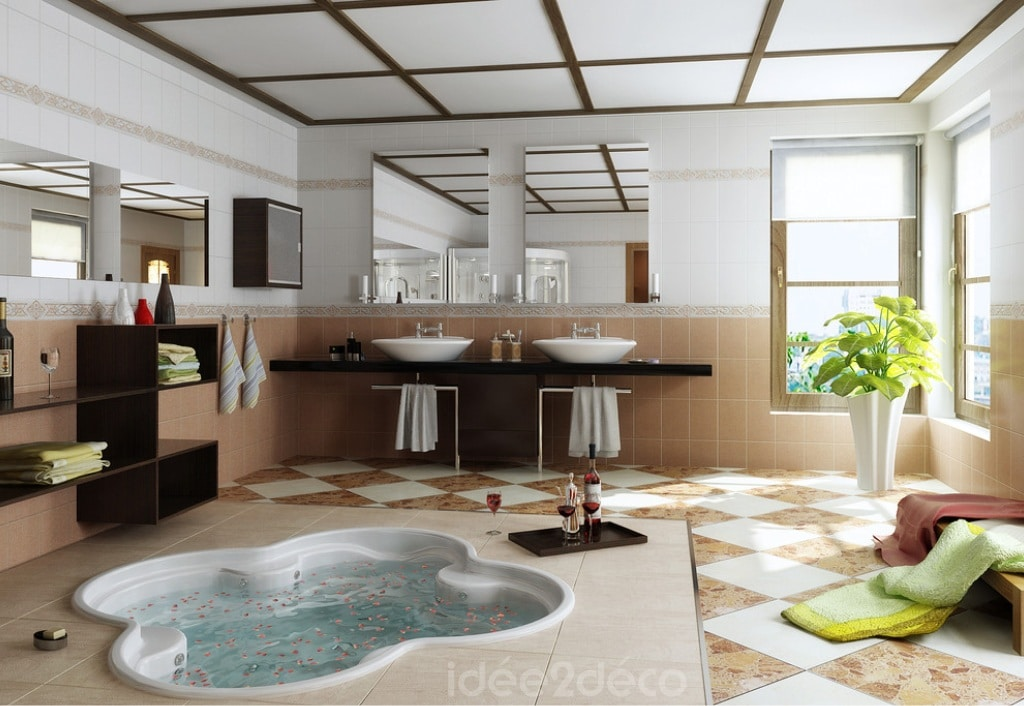une salle de bain moderne avec spa. Black Bedroom Furniture Sets. Home Design Ideas
