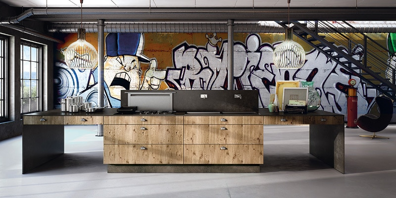 Difficile de faire plus urbain que cette cuisine loft !