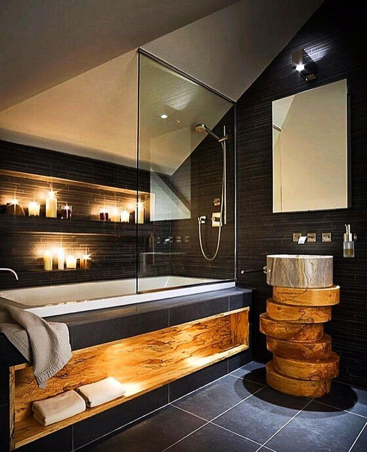ambiance rustique dans salle de bain