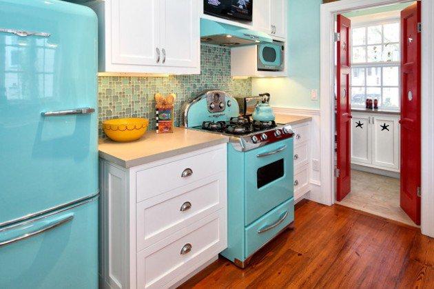 couleurs cuisine dune époque - 12 modèles de cuisine rétro moderne : un savant mélange d'hier et d'aujourd'hui