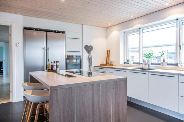 Cuisine moderne avec ilot central en bois et tabourets dans un design scandinave