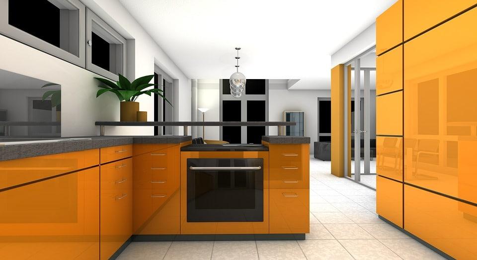 Cuisine 3d 6 id es de 8 m 25 m - Cuisine orange et grise ...