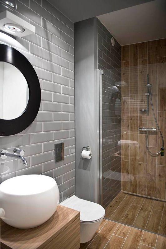 salle de bain carrelage gris marron