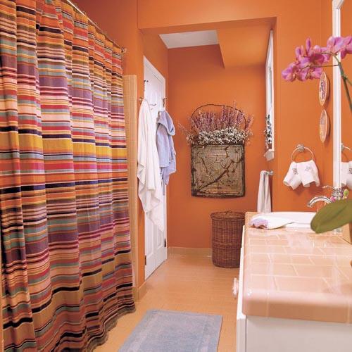 idee salle de bain orange