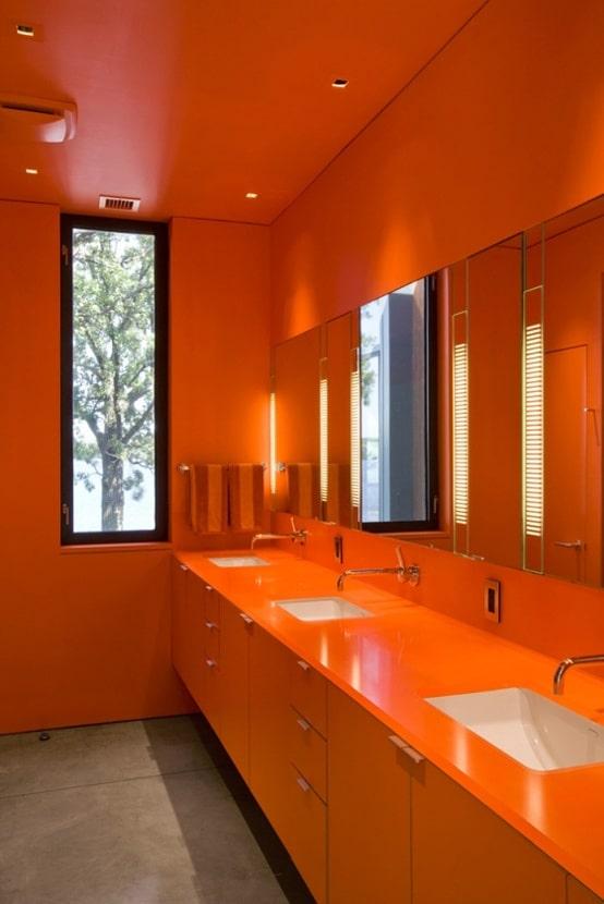 salle de bain orange
