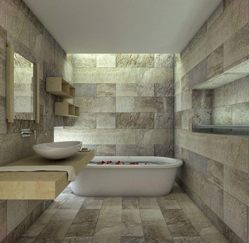 Salle de bain en pierre naturelle le min ral s invite en for Salle de bain en pierre
