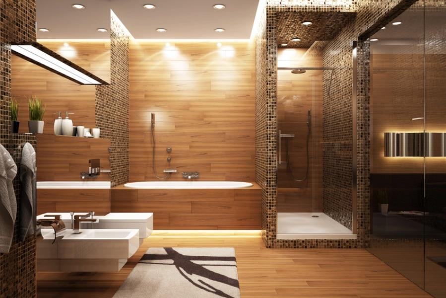 salle de bain déco avec douche et baignoire
