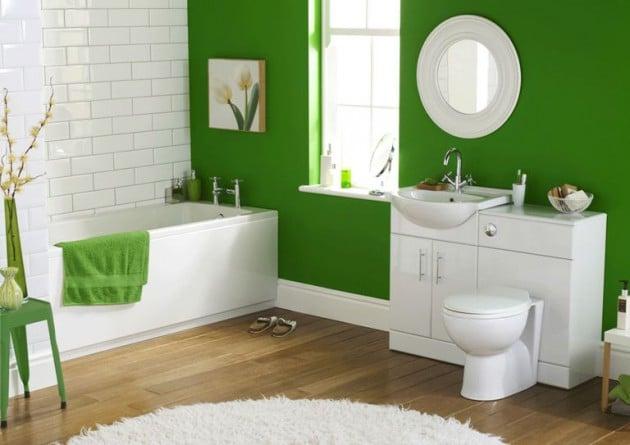 Merveilleux Salle De Bain Vert Et Blanc