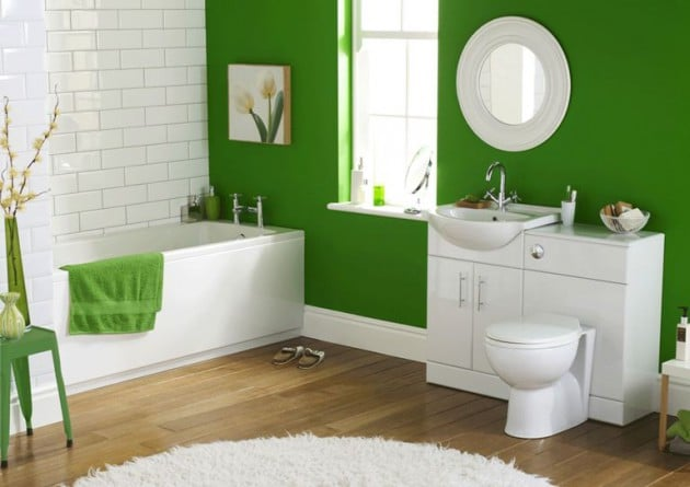 salle-de-bain-vert-et-blanc