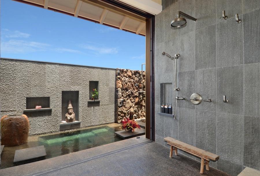 salle de bain pierre au sol comme aux murs - Suspension Salle De Bain Zen