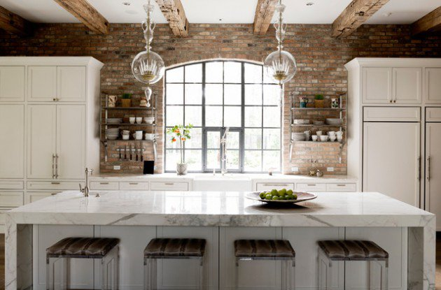 briques-dans-une-cuisine-moderne-et-rustique