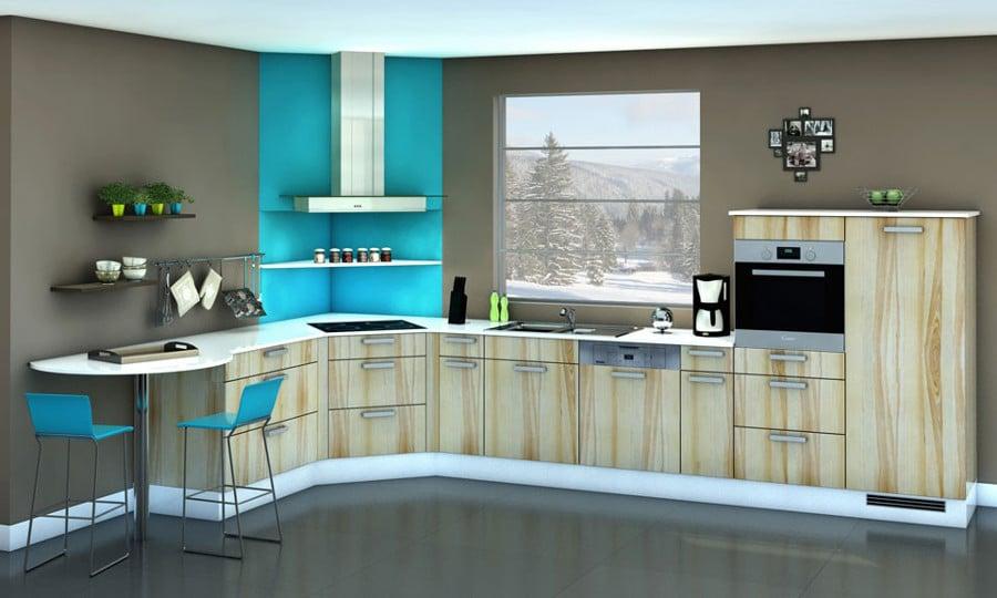 Voici une autre idée de déco d'une cuisine zen. La couleur vive en petite touche dynamise le décor sans le surcharger.