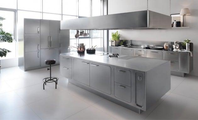cuisine futuriste en acier inoxydable - Cuisine design en inox : 15 modèles d'élégance et de raffinement
