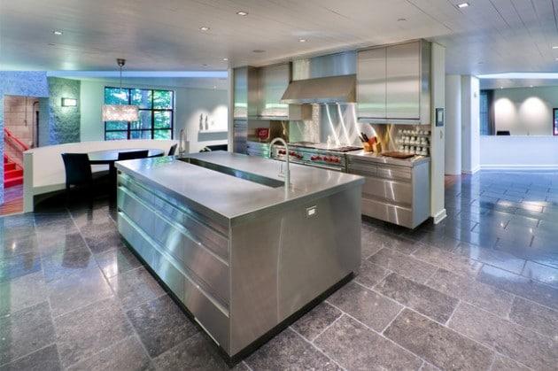 cuisine marbre et inox - Cuisine design en inox : 15 modèles d'élégance et de raffinement