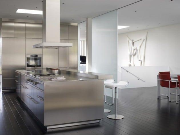 cuisine ultra design en inox - Cuisine design en inox : 15 modèles d'élégance et de raffinement