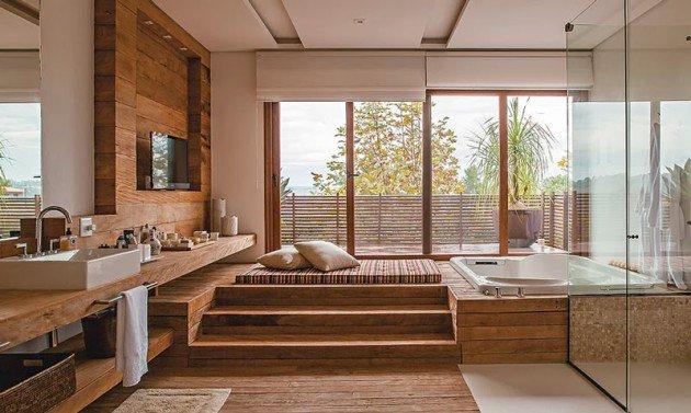 La chaleur du bois combiné à la pureté du verre, ... tout simplement magnifique. https://www.jogandoobuque.com/banheiros-com-clima-de-spa/
