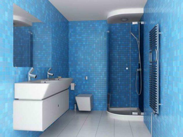 Salle de bain couleur bleue: 20 modèles ( comme dans un aquarium )