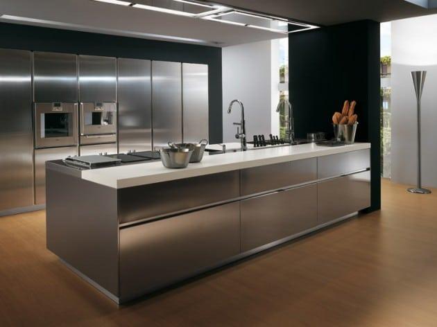 plan de travail de cuisine en inox - Cuisine design en inox : 15 modèles d'élégance et de raffinement