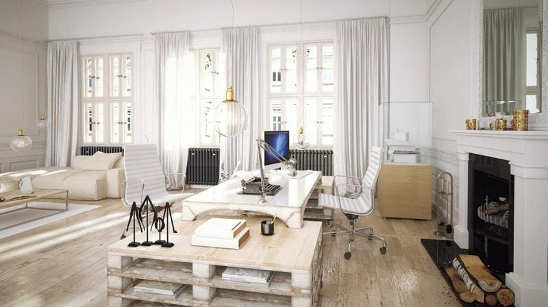 bureau en palettes 18 id es le bureau tendance et zen. Black Bedroom Furniture Sets. Home Design Ideas