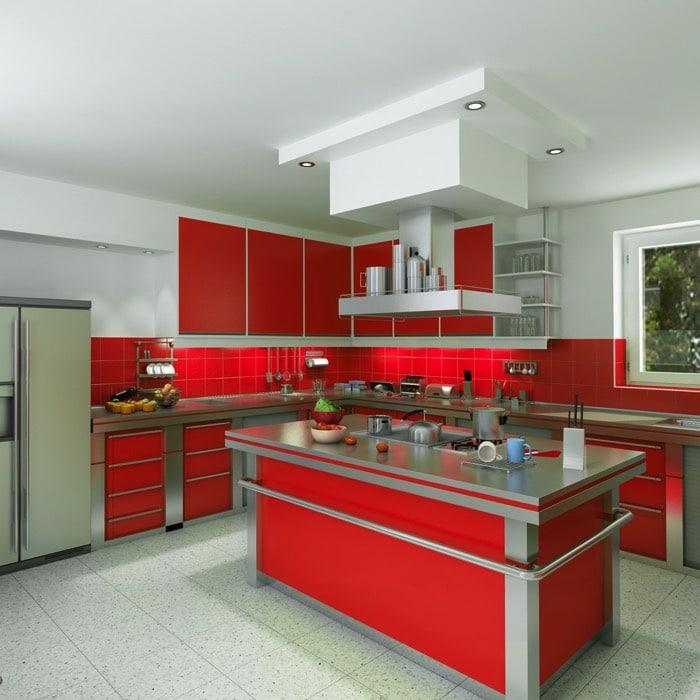 Une cuisine aux couleurs vives 30 exemples pour votre - Cuisine rouge avec ilot central ...
