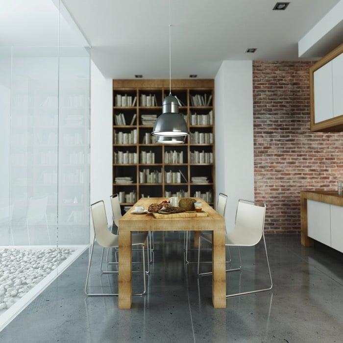 La brique dans votre salle manger 20 mod les pour vous for Table suspendue au plafond