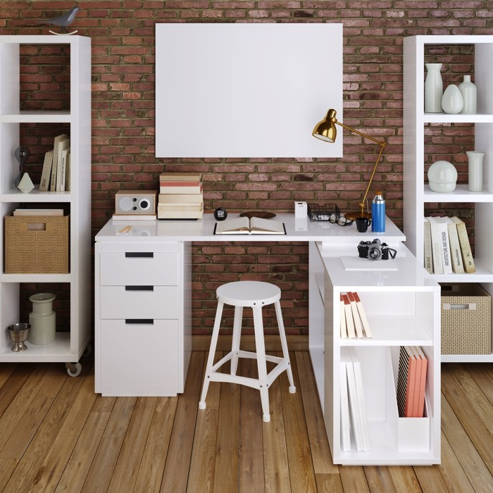 25 id es d co d un bureau maison nos astuces pour le for Grand bureau moderne