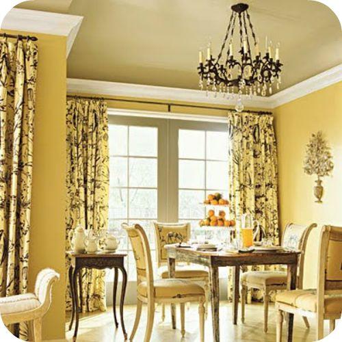 Salle manger jaune 14 id es design pour int grer la for Rideaux salle a manger