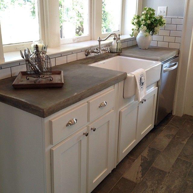 sol et plan de travail en b ton dans une cuisine nos conseils d application. Black Bedroom Furniture Sets. Home Design Ideas